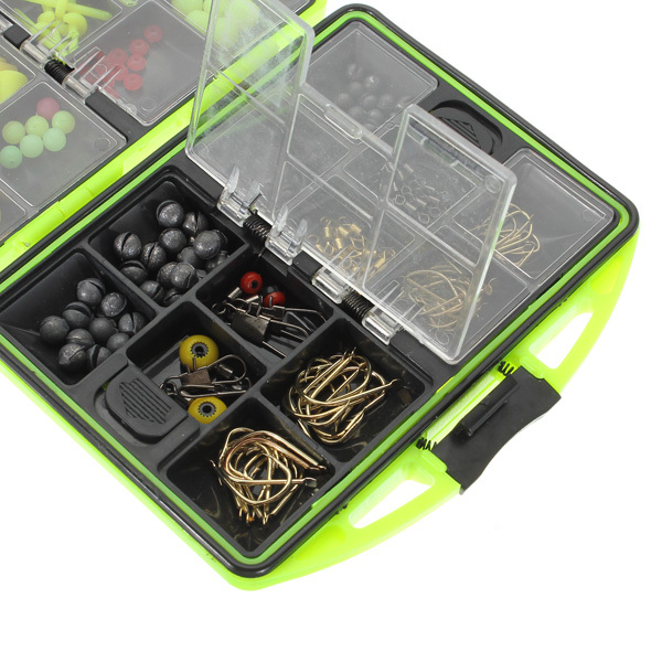 Assorted Fishing Fish Tackles Swivels Lures Snap Jigs Beads Hooks Box 166g GZ2(China (Mainland))