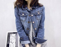 B 2014New Arrival Fashion Denim Jacket Plus Size Long Sleeve Jean Outerwear Turn-Down Collar Coat