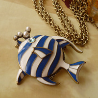 Europe Street New Arrival Retro Blue Glaze Tropical Fish Brooch Necklace BJ013