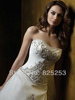 Hot Sale Free shipping Custom Made 2013 PopularA-line Strapless Applique Brush Train Satin Wedding Dresses