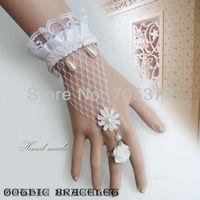 10Pcs Fashion Women Bracelet White Lace Pure Handmade Bangle White Bridal Fingerless Glove Mesh Sheer Net Lace Bracelet Cuff New