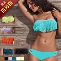 Fashion bikini swimwear split big small push up tassel t18t15