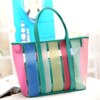 2013 beach bag transparent bag big bag candy color jelly bag color block women's handbag shoulder bag