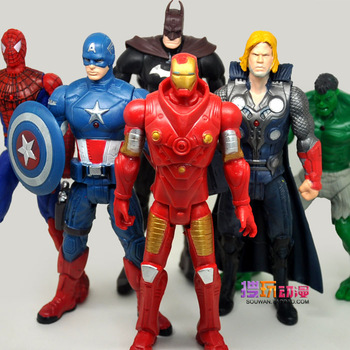 The Avengers 6pcs/set cartoons figures Spider-Man Batman  free shipping cartoon figures 16-17cm