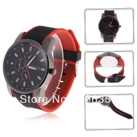 Stylish SBAO S167 Men's Round Dial Quartz Hours Analog Rubber Band Wrist Watch - Black and Red/White/Orange