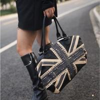 2013 new fashion National Flag Handbag UK Flag Famous Designer Rivet Bag Ladies bag Black Free Shipping