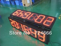 Indoor RF remote control 4'' Digital Red led time and temperature signs  6 digits outdoor led clock time date temperature sign
