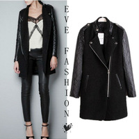 2013 Winter   Hot  Contrast Leather Quilted Sleeve Zipper Coat Jacket Trench Blends