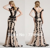 New Arrivlal 2013 Long Champagne Mermaid  Lace  Beaded  Cheap Simple Black Applique  Evening Dress Prom Dresses
