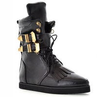 2013 autumn punk women motorcycle boots, metal buckle flat martin boots ,free shipping tassle fashion boots
