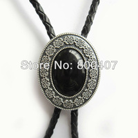 Retail New Silver Plated Small Size Vintage Black Agate Bolo Tie BOLOTIE-009SL In Stock Free Shipping