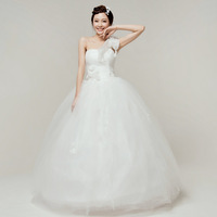 New arrival slim 2013 sweet tube top princess wedding dress one oblique shoulder wedding dress