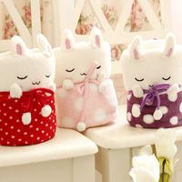 Free shipping 100cm creative cartoon dot sleep rabbit coral fleece car air conditioning baby blanket gift plush stuffed toy 1 pc