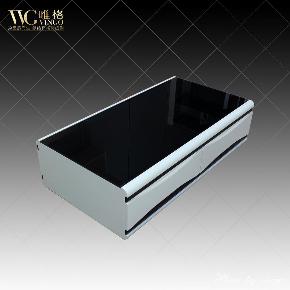 Vega Fine Furniture Modern Minimalist Piano Lacquer Black Tempered Glass Coffee Table A Few 1071