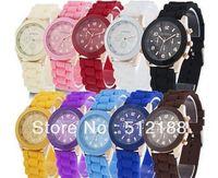100pcs/lot High Quality 15 Colors Fashion Geneva Watch Rubber Candy Unisex Quartz Watches Sport Wristwatch Mix Colors Via DHL