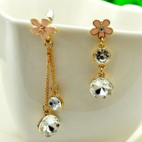 Min order $15(mixed items) 2013 New Arrivals Asymmetry Clover Long Tassel Earring,freeshipping