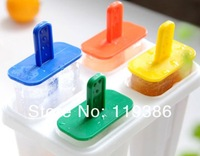 4 Cells Frozen Ice Cream Pop Mold Popsicle Maker Lolly Mould Tray Pan Kitchen DIY Ice Cream Tools