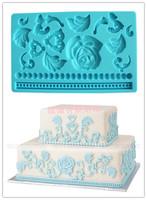 Rose bead embossed mould silica gel pad print sugar flowers tools sugar cake decoration mould
