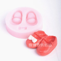 Baking tools baby shoes bow silica gel resin mold sugar cake mould polymer clay