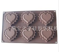 6 laciness heart silica gel cake mold handmade soap jelly pudding mold diy mould
