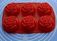 Silica gel cake mold 6 large rose mould large