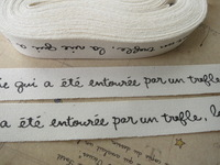 Free Shipping 100 Meters of ZAKKA Tags Cotton Ribbon Label String French Handwriting Cotton Sewing Tape Trim 15mm