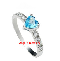EMS Free shipping, hotsale  natural blue topaz ring with 925 silver plated 18k white gold, fashion heart shape ring