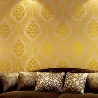 2013 European Damascus wallpaper woven gilt sofa living room TV backdrop 53cm