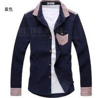 2013 New Autumn Korean Style Men's Stripped Sim Long Sleeve Cotton Shirts Free Shipping LJ673