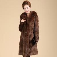 Free shipping 2013 Women's Natural Rabbit Fur Overcoat Fox Fur Collar Female Winter Warm Outerwear