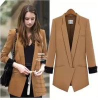 Good Quality 2013 autumn new fashion temperament and long sections Slim waist small suit jacket lapel jacket women Blazers