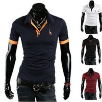 Wholesale - 2013 Hot New Summer men's t shirts Men's Slim Casual embroidery LOGO Short Sleeve,M,L,XL,XXL,3009