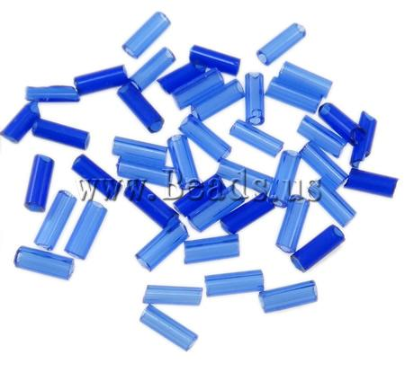Free shipping!!!Transparent Glass Seed Beads,Cheap Jewelry Wholesale, Tube, translucent, blue, 2x5mm, Hole:Approx 1mm(China (Mainland))