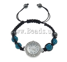 Free shipping!!!Shamballa Watch,Trendy Fashion Jewelry, Zinc Alloy, with Clay & Wax Cord & Glass, platinum color plated