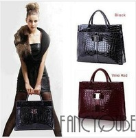 Luxury OL Fashion 2013 Lady Women Crocodile Pattern Hobo Handbag Tote Bag 2 Color Horizontal Version Y-0056