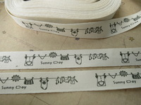 Free Shpping 100 Meters of ZAKKA Tags Cotton Ribbon Label Black Sunny Day Laundry Cotton Sewing Tape Trim String 15mm