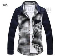 2013 New Autumn Korean Style Packwork Casual Men's Grid Shirts Free Shipping LJ674