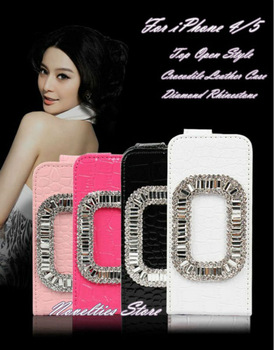 Luxury Elegant Diamond Round Square Shape Flip Crocodile Leather Case Cover for iPhone 4 4S, iPhone 5, 7 Colors, 1pc/lot