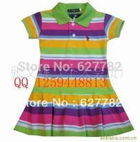 Children Polo Dress New Summer 2013 Infant/Baby Girls Brand Polo Dress(1-6y) Striped Children/Kids Princess tennis Dress