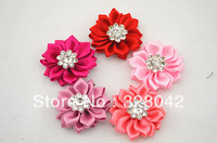 Free shipping 1.5'' Crystal Button centre DIY Cluster Flowers satin ribbon flower WITHOUT clip hair accesories 240pcs/lot