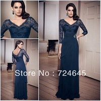 30% Off Cheap A-line Chiffion Drapped Half Lace Sleeve Evening Dresses Evening Clothes Party Prom Dresses