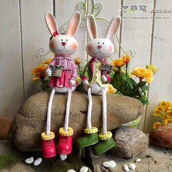 Free shipping Rabbit decoration britfilms american rustic home decoration  resin lovers doll