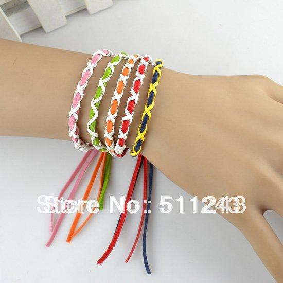 Weave handmade charm/Strand friendship leather bracelets for women(China (Mainland))