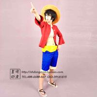 Fantasia Infantil Halloween Cosplay Costume Anime One Piece Luffy Set (shirt + Waist Band Pants Hat Shoes) Fantasias Costumes