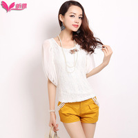 Lantern sleeve chiffon shirt lace white summer short-sleeve 2013 shirt 2895