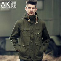 Ak men's clothing 2014 autumn outdoor military waterproof canvas jacket outerwear 1204205