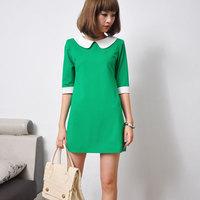 2013 women's spring peter pan collar one-piece dress colorant match slim half sleeve one-piece dress