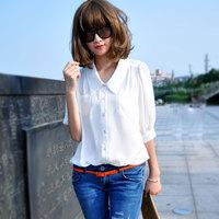 Spring intellectuality women's OL outfit loose turn-down collar lantern sleeve chiffon shirt half sleeve shirt