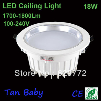 recessed down light 18W Epistar chip led ceiling lamp white 100-240V AC 1800lm RoHS indoor CE warranty 2 years free shipping