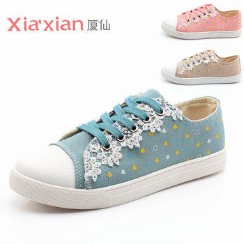 2013 powder blue lace cotton-made shoes love dot women's low canvas shoes female shoes